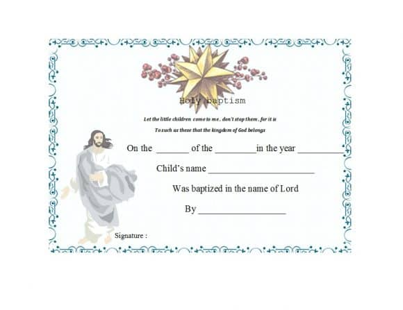 Roman Catholic Baptism Certificate Template 0
