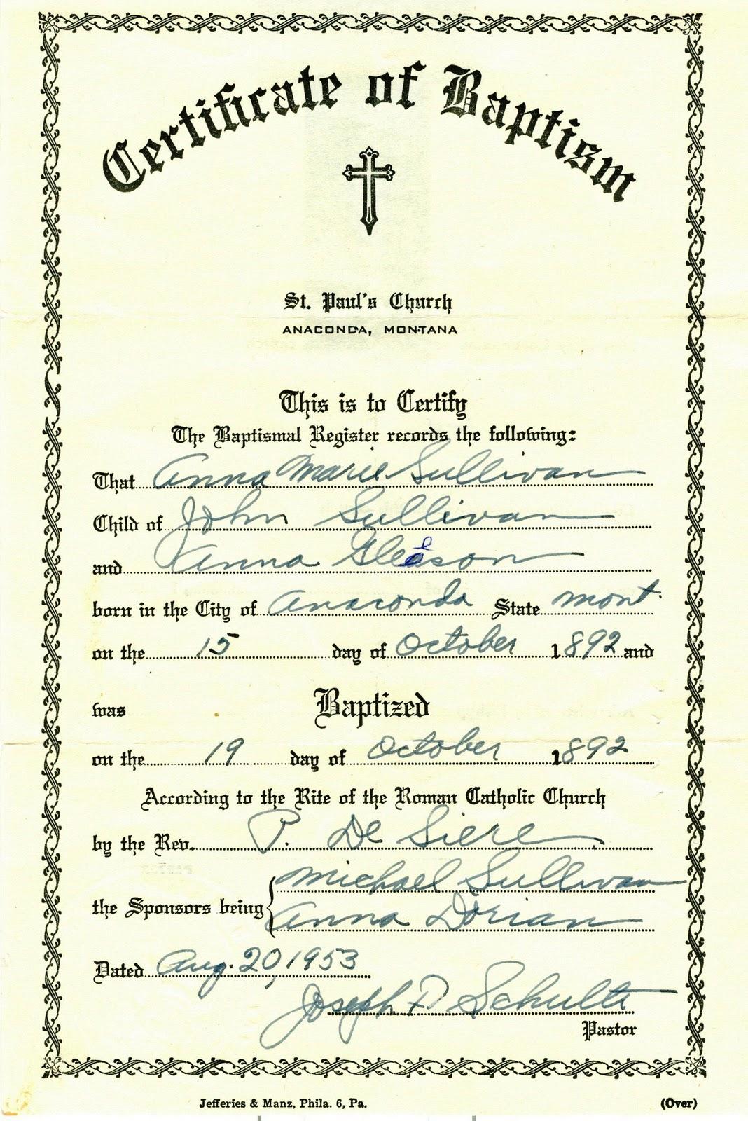 Roman Catholic Baptism Certificate Template 7