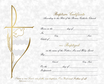 Roman Catholic Baptism Certificate Template 9