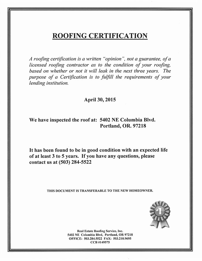 Roof Certification Template 2