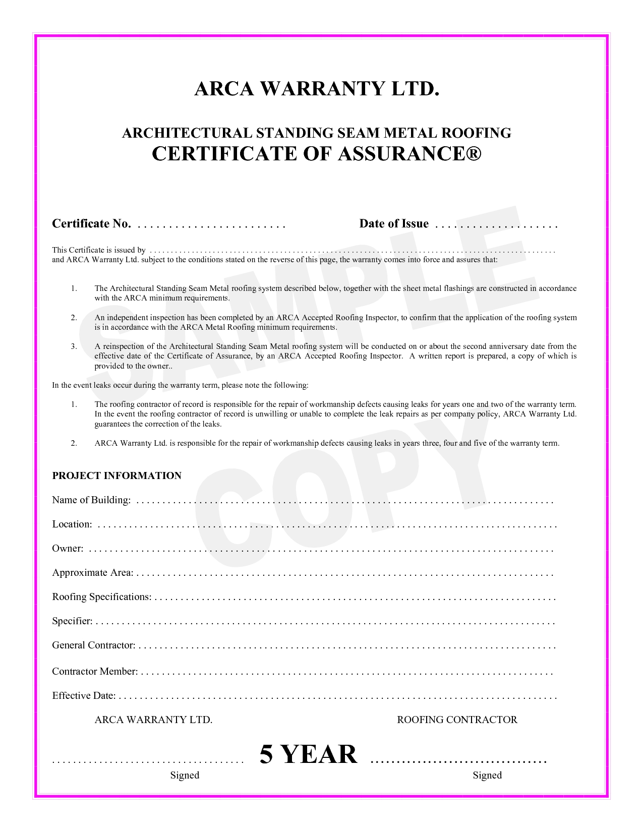 Roof Certification Template 7