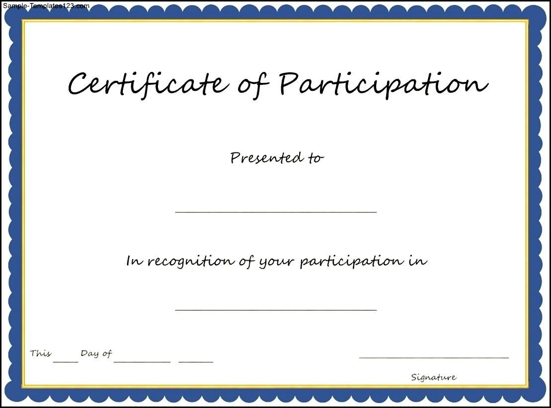 Sample Certificate Of Participation Template 3