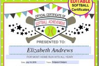 Softball Award Certificate Template