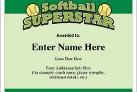 Softball Award Certificate Template 6