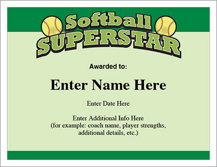 Softball Award Certificate Template 6