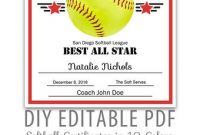 Softball Award Certificate Template 9