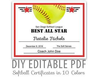 Softball Award Certificate Template 9