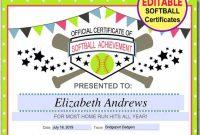 Softball Certificate Templates 2