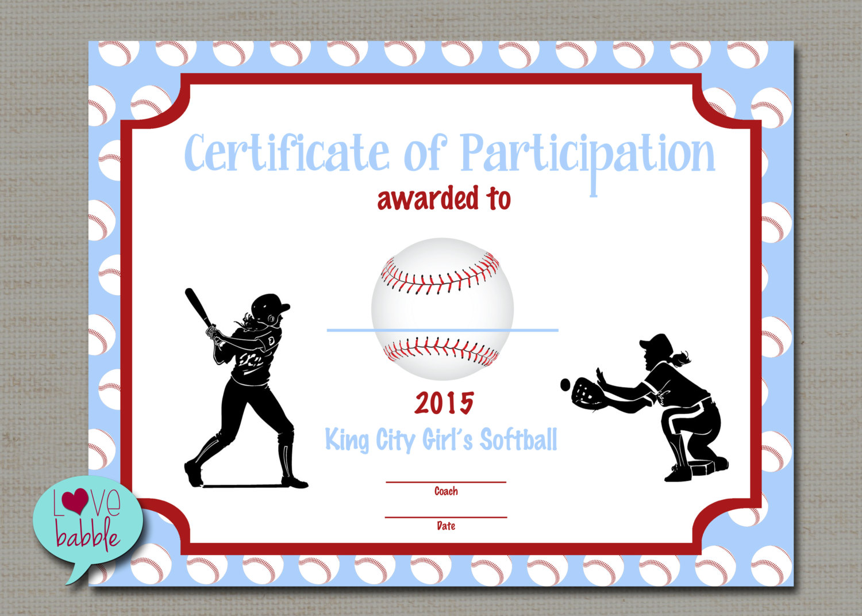 Softball Certificate Templates 4