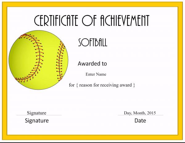 Softball Certificate Templates Free 5