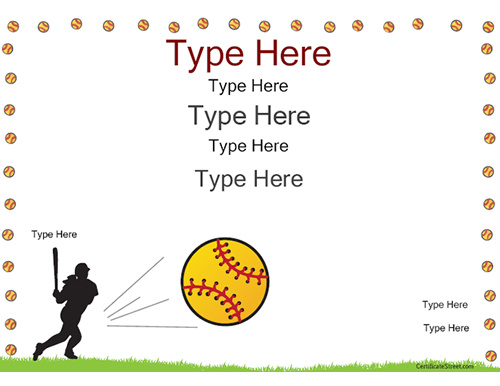 Softball Certificate Templates Free 6