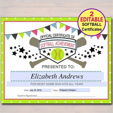 Softball Certificate Templates Free