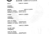 South African Birth Certificate Template 3