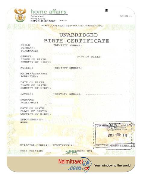 South African Birth Certificate Template