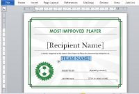 Sports Award Certificate Template Word 2