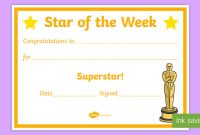 Star Of the Week Certificate Template 10