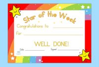 Star Of the Week Certificate Template 7