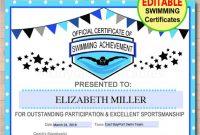 Swimming Award Certificate Template 4