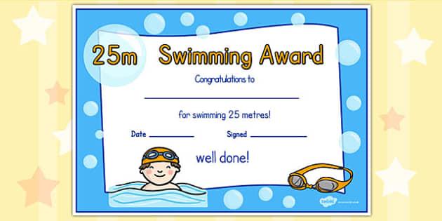 Swimming Award Certificate Template 6