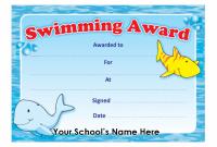 Swimming Award Certificate Template 8