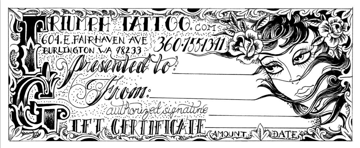 Tattoo Gift Certificate Template 3