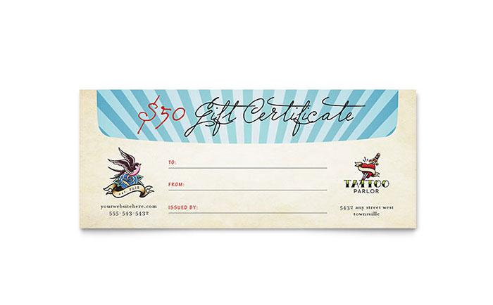 Tattoo Gift Certificate Template 6