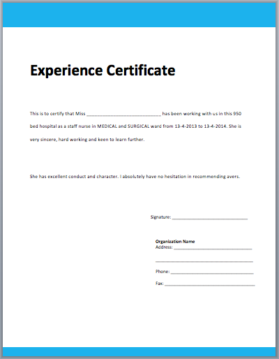 Template Of Experience Certificate 2