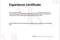 Template Of Experience Certificate