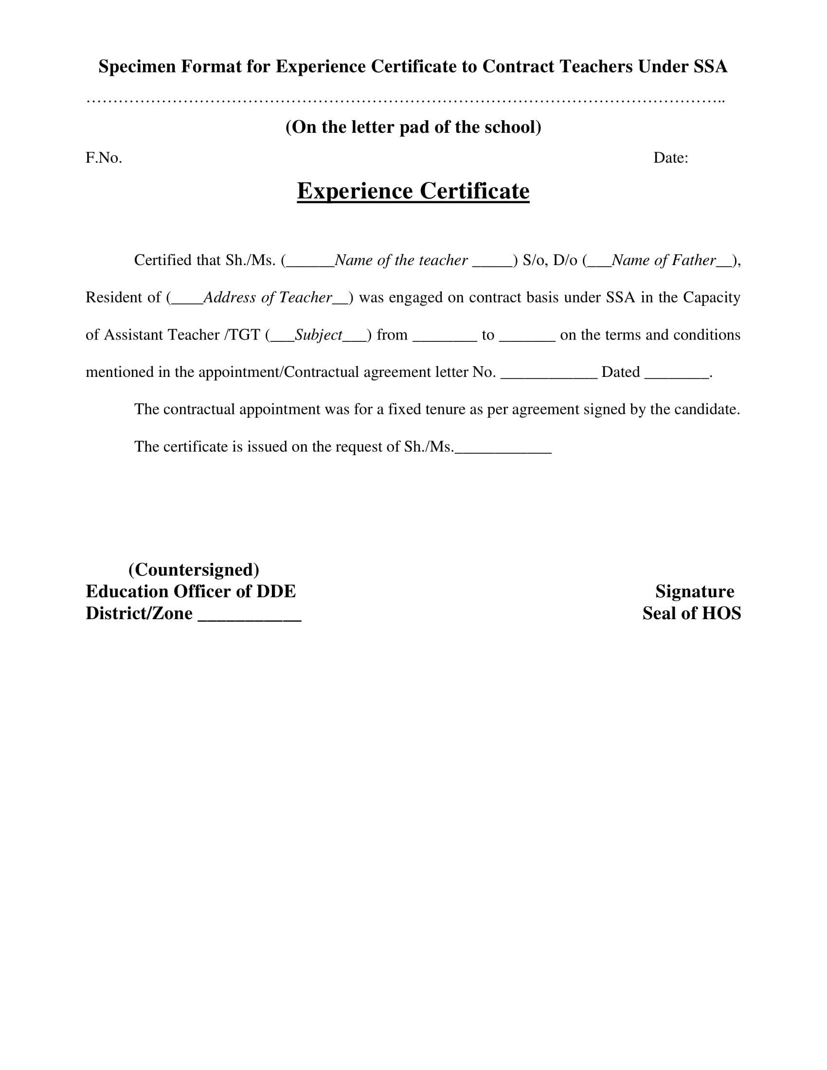 Template Of Experience Certificate 3
