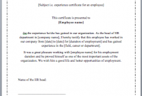 Template Of Experience Certificate 7