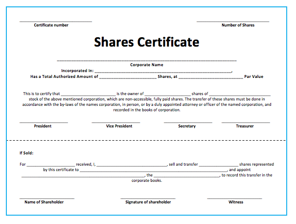 Template Of Share Certificate 11