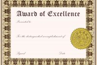 Template for Certificate Of Award 11