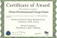 Template for Certificate Of Award 2