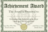 Template for Certificate Of Award 4