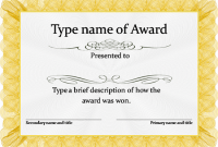 Template for Certificate Of Award 6