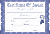 Template for Certificate Of Award 8