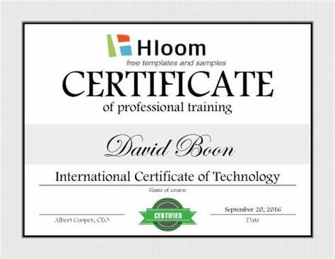 Template For Training Certificate 11
