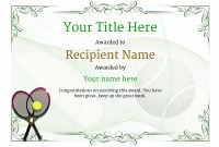 Tennis Certificate Template Free 4