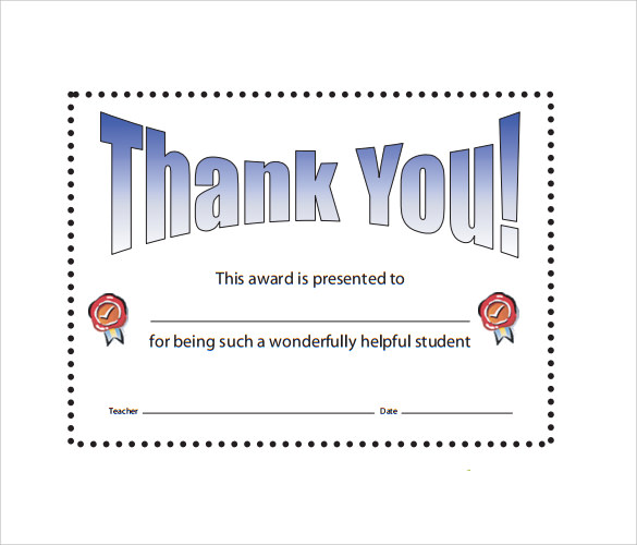 Thanks Certificate Template 9