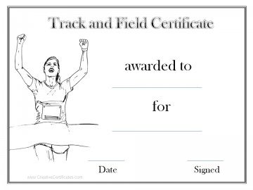 Track And Field Certificate Templates Free 10