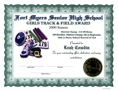 Track And Field Certificate Templates Free 6