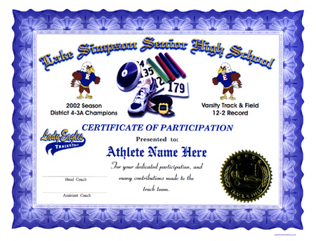 Track And Field Certificate Templates Free 9