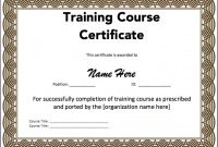 Training Certificate Template Word format 2