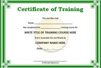 Training Certificate Template Word format 3