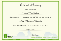 Training Certificate Template Word format 5