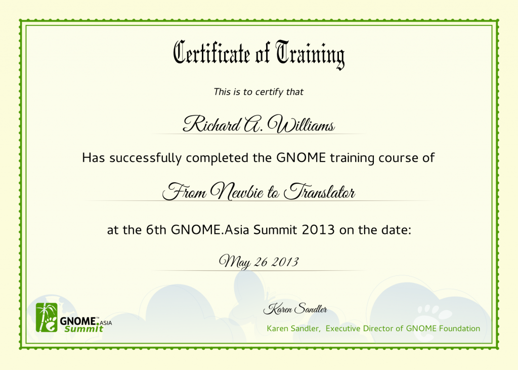 Training Certificate Template Word Format 6