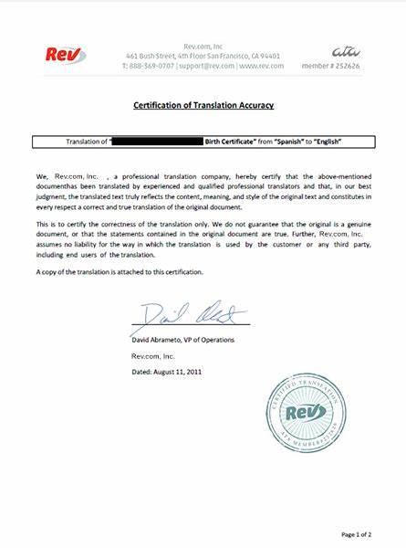 Uscis Birth Certificate Translation Template 2