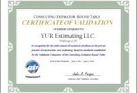 Validation Certificate Template 6