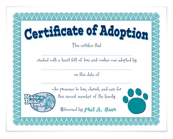 Build A Bear Birth Certificate Template 11