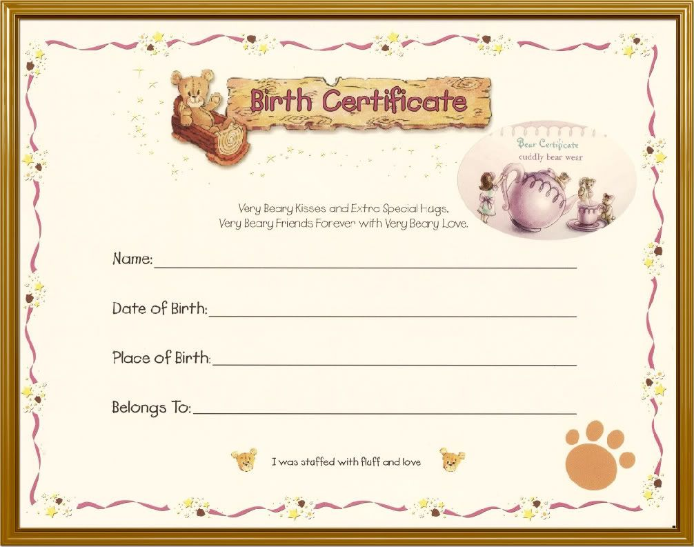 Build A Bear Birth Certificate Template 12